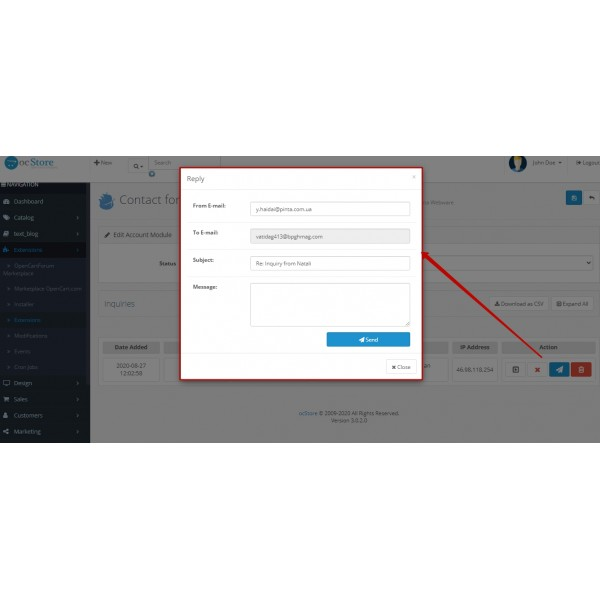 Request History PRO (Contact Form History) for OpenCart (v. 1.5-3.X)