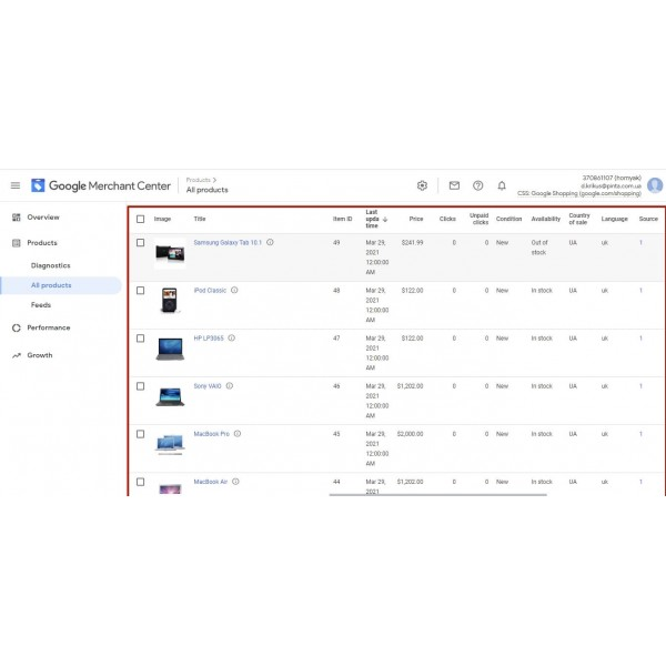 Google Merchant Shopping Feeds for Opencart