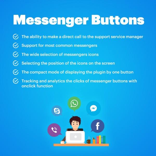 Messengers Buttons for CS-cart (Facebook, Instagram, Skype, WhatsApp, Viber, Vkontakte)