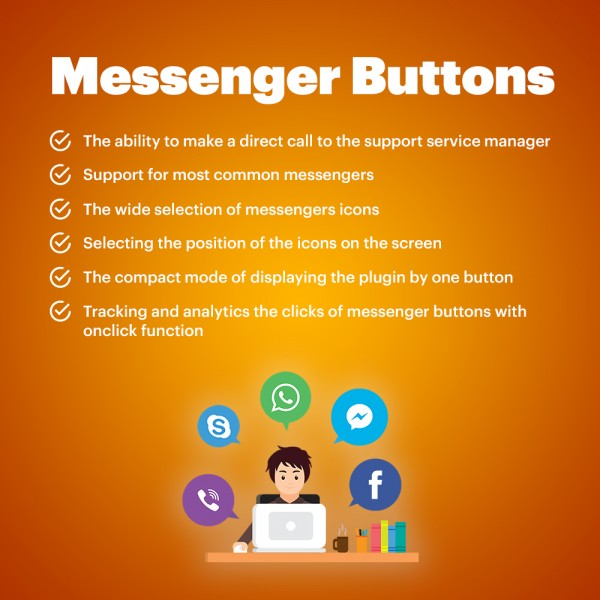 Messengers Buttons for Magento 1.9* 2.3* (Facebook, Instagram, Skype, WhatsApp, Viber, Vkontakte)