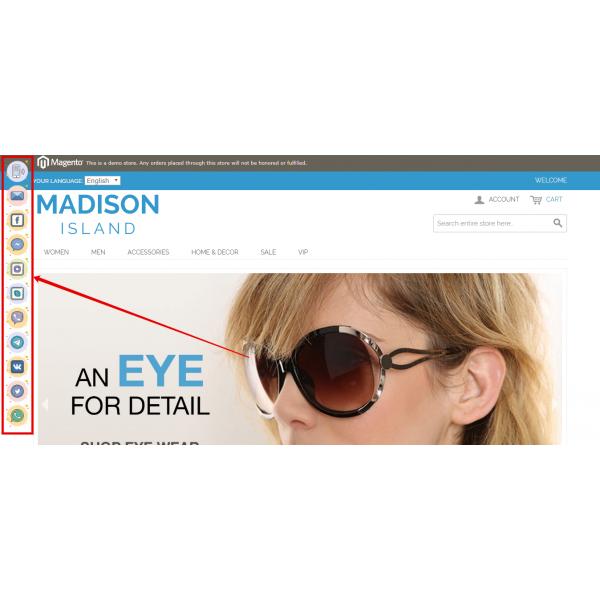 Messengers Buttons for Magento 1.9* 2.3* (Facebook, Instagram, Skype, WhatsApp, Viber, Vkontakte)