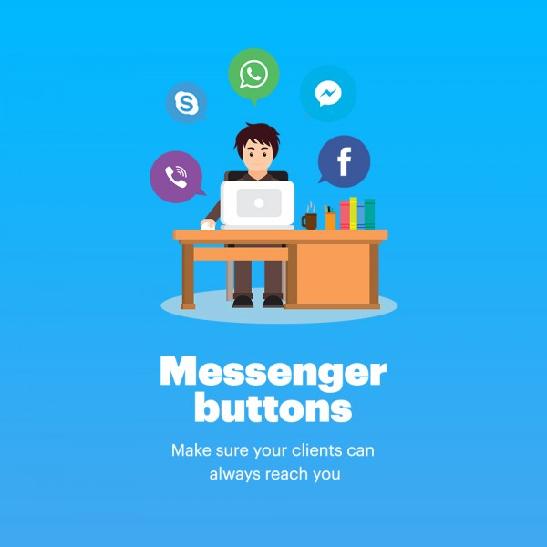 Messengers Buttons for Prestashop (Facebook, Instagram, Skype, WhatsApp, Viber, Vkontakte)