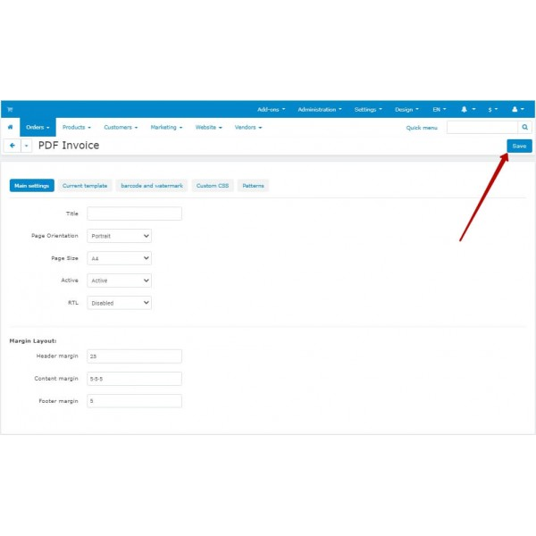 PDF Invoice to Order - Attach to Email for CS-Cart