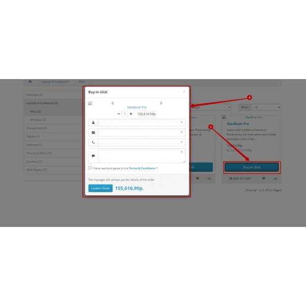 Quick Order Form - Easy Buy in one click for OpenCart (v. 1.5-3.x)